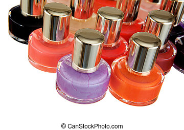Colour varnish - Group of bottles of colour nail polish on a...