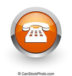 phone orange glossy web icon - orange glossy web icon