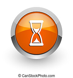 time orange glossy web icon - orange glossy web icon