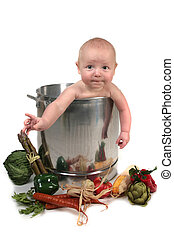 Baby Boy Hanging Out of a Chef Pot