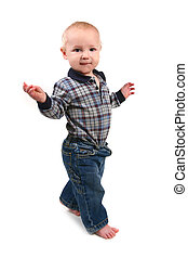 Adorable Toddler Boy Walking Sideways on White Background