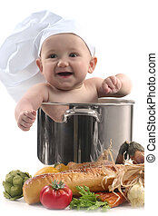 Cute Baby in a Chef Pot Smiling