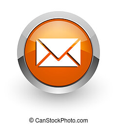 email orange glossy web icon - orange glossy web icon