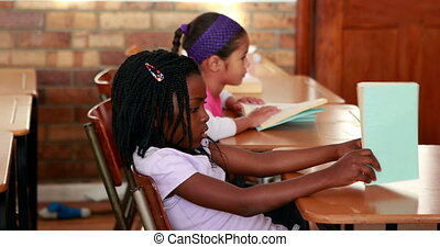 Cute schoolchildren reading in their classroom in elementary...