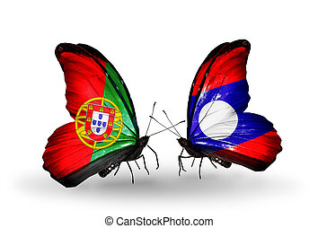 Two butterflies with flags on wings as symbol of relations Portugal and Laos