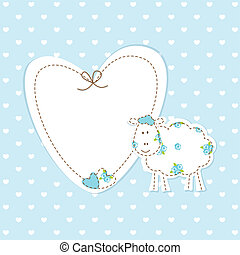 Baby blue background with sheep - Baby blue background with...
