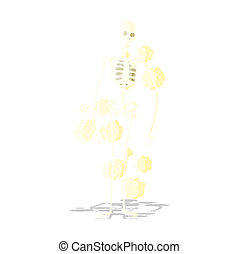 cartoon dusty old skeleton
