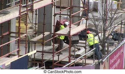 Men working in construction industry