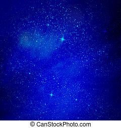 The blue star sky with clouds, background