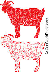 Red goats - vector set of red goats silhouettes