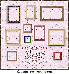 Vintage Photo frame template. Vector illustration. Grunge...