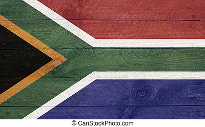 South Africa flag on wood boards with nails - South Africa -...