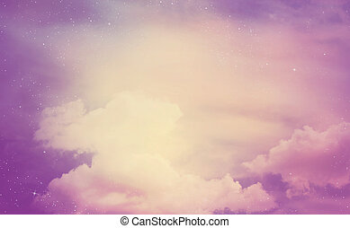 The color star sky with clouds, background