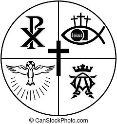 christian symbols - Christian symbols in a circle