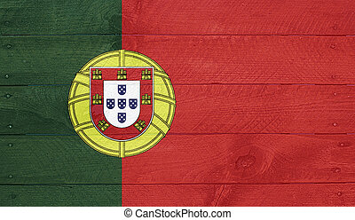Portugal flag on wood boards with nails - Portugal -...