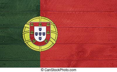 PORTUGAL, bandeira, madeira, placas, pregos