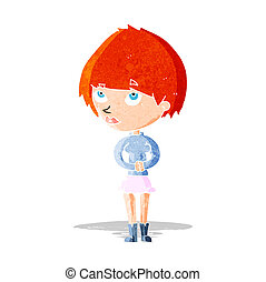 cartoon nervous woman
