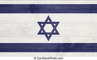 Israel flag on wood boards with nails - Israel - National...