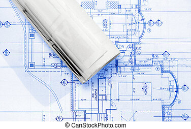 plans - blueprints on table ,