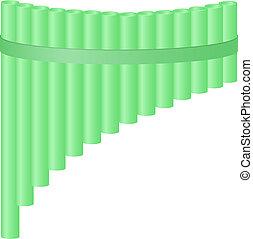 Pan flute in light green design on white background