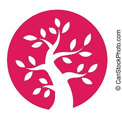 Autumn tree round icon