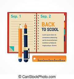 Back to school diary notebook background