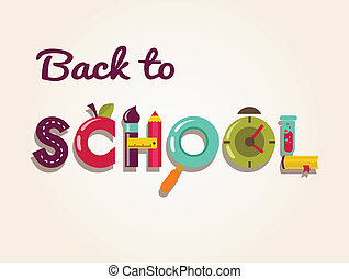 Back to school - text with icons. Vector concept background...