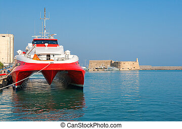 Catamaran ferry in port of Heraklion Crete, Greece - Fast...