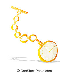 cartoon old pocket watch