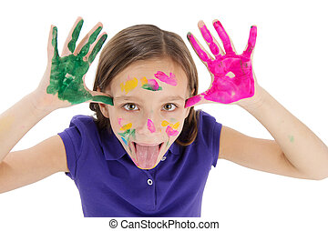 small girl with painted hand on white background cute girl...