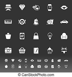 Department store item category icons on gray background,...