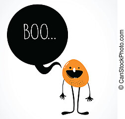 cute monster with speech bubble - cute vector monster with...