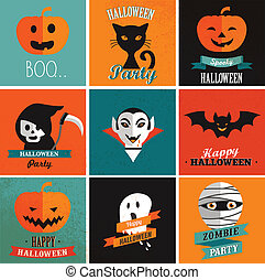 Halloween cute set of icons, posters, cards and flyers -...