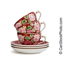Stack of three tea cups isolated - Stack of three...