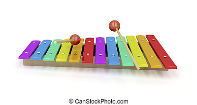 Xylophone - Wooden xylophone on white background