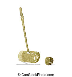 cartoon croquet mallet and ball - carton croquet mallet and...