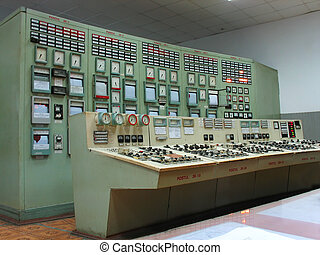 Control panel at electric power plant - Control panel of...