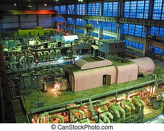 steam turbine during repair, machinery, pipes, tubes at a...