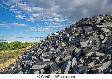 Abandoned slate mine - Wide angle view of abandoned slate...