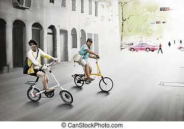 digital painting image - two man riding his bike digital...