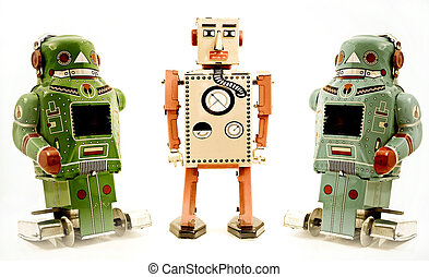 toys - three retro robot toys