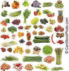 Collage of fresh fruits and vegetables vertical