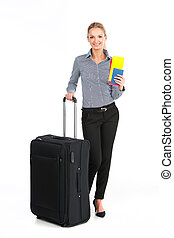 beautiful girl standing with black luggage. young girl...