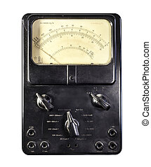 Old ammeter isolated on a white background