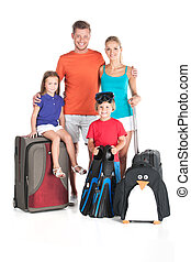 happy family standing with luggage on white background. man...