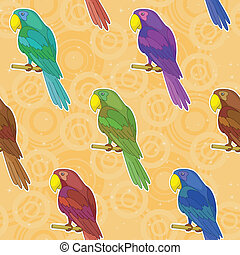 Seamless background, colorful parrots - Seamless pattern,...