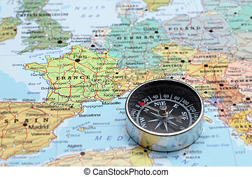 Travel destination France, map with compass - Compass on a...