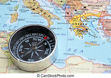 Travel destination Greece, map with compass