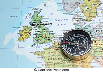 Travel destination United Kingdom and Ireland, map with...