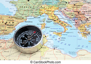 Travel destination Italy, map with compass - Compass on a...